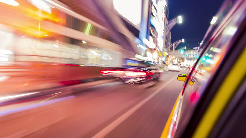 TOKYO - MAY 12th 2015: Point of view time-lapse (hyperlapse)  through the city at night by taxi. Tokyo, Japan | Shutterstock HD Video #10472015