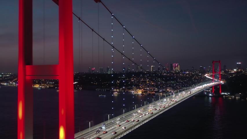 Aerial view of Istanbul Bosphorus Bridge. Night Istanbul. 4K Footage in Turkey | Shutterstock HD Video #1047202891