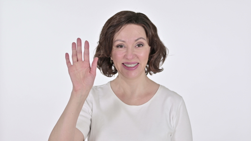 Old Woman Waving and Cheering at the Camera  | Shutterstock HD Video #1047203491