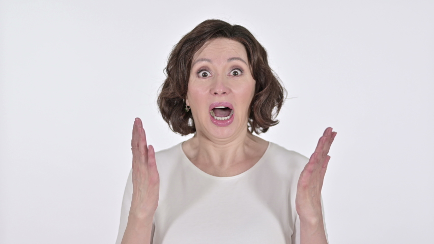 Yelling, Old Woman Screaming on White Background  | Shutterstock HD Video #1047203587