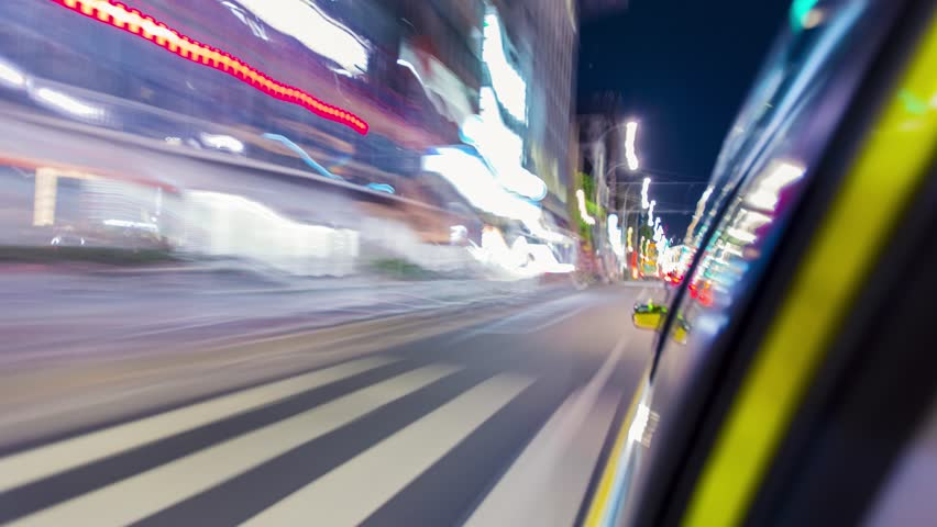 Fast motion time-lapse (hyperlapse) taxi ride through the Tokyo at night | Shutterstock HD Video #10472036