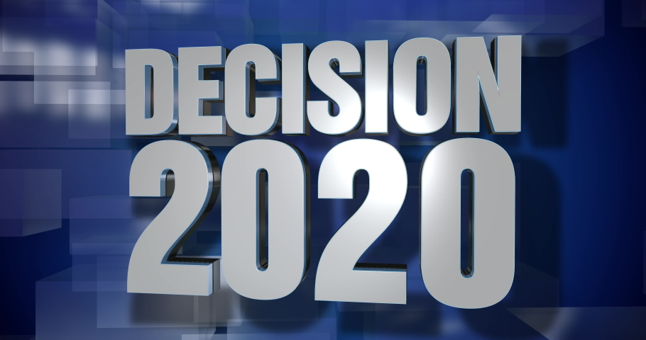 A blue dynamic 3D Decision 2020 news transition and title page animation. 5 and 2 second options included. Green screen.   | Shutterstock HD Video #1047215245