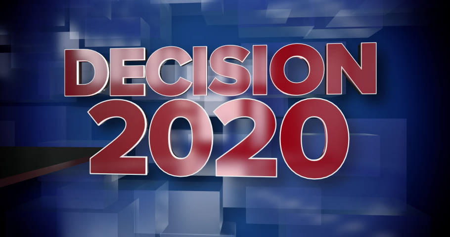 A red and blue dynamic 3D Decision 2020 news title page animation.   | Shutterstock HD Video #1047215248