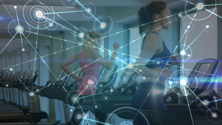 Animation of network of connections, data processing and statistics recording with female athletes running on treadmills in a gym in the background. Global sport and technology statistics data | Shutterstock HD Video #1047222880
