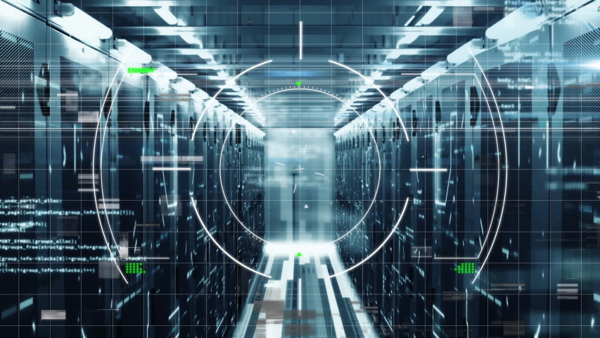 Animation of scope scanning, data processing and digital information flowing through network of computer servers in a server room with white light trails flashing on surface.  | Shutterstock HD Video #1047224806