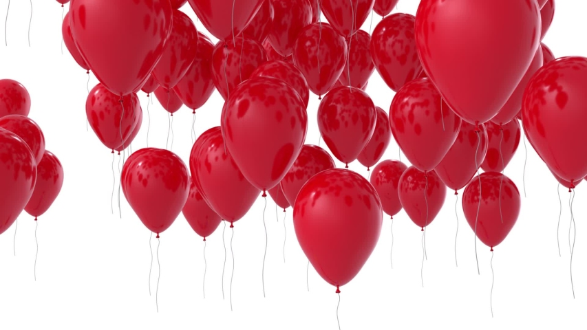 Red balloons flying up. 3D render Royalty-Free Stock Footage #1047242629