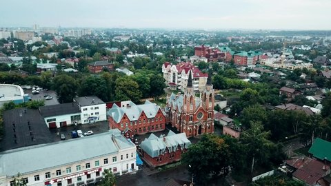 Roman Catholic Church of the Exaltation of the Holy Cross in Tambov, Russia, aerial view
