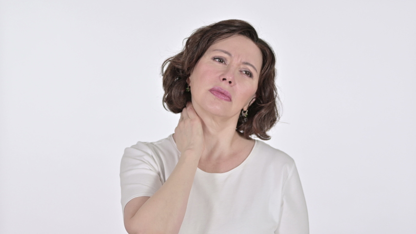 Old Woman with Neck Pain on White Background  | Shutterstock HD Video #1047248866