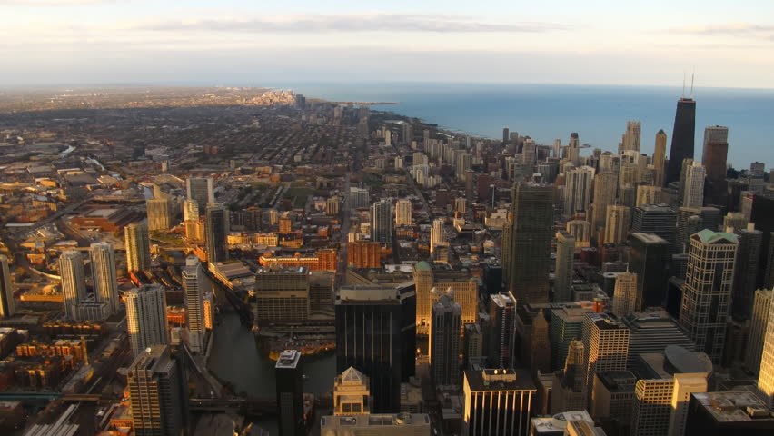Time lapse Chicago Skyline at sunset