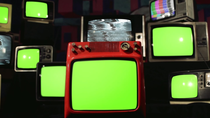 "Ten Old TVs turning on Green Screens. Zoom In. You can Replace Green Screen with the Footage or Picture you Want with ""Keying"" effect in After Effects (check out tutorials on YouTube). 