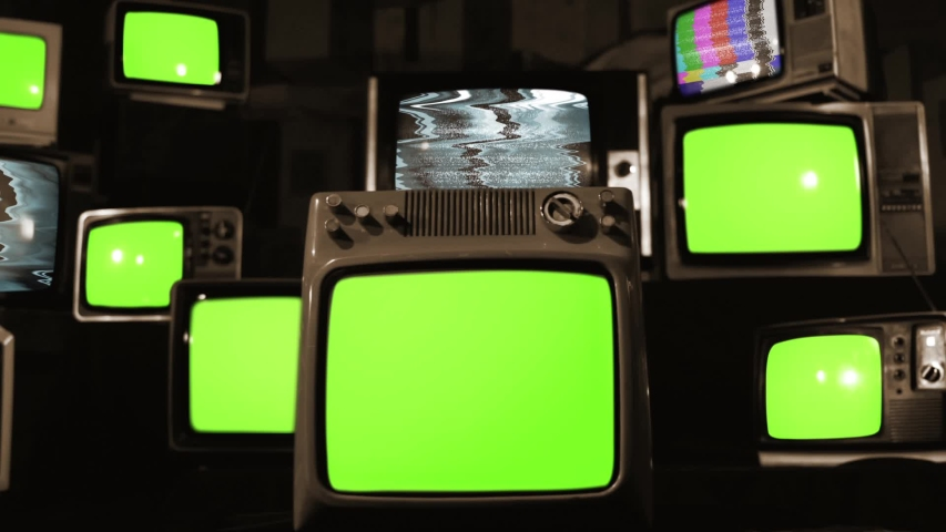 "Ten Old TVs turning on Green Screens. Sepia Tone. You can Replace Green Screen with the Footage or Picture you Want with ""Keying"" effect in After Effects (check out tutorials on YouTube). 