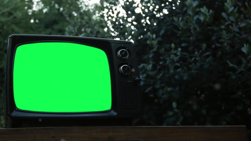 "Vintage TV Green Screen Outdoor. Pollen Particles Floating in the Air. Zoom In. You can Replace Green Screen with the Footage or Picture you Want with ""Keying"" effect. 