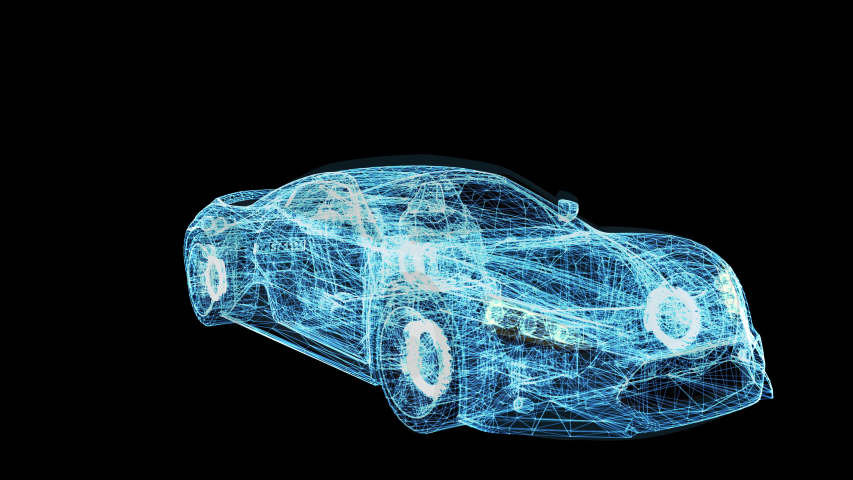 3D animation on alfa channel, flashing neon turns into car hologram, whole vehicle appearing, turning on headlights and driving away. Assembly of transportation, automobile industry, engineering.