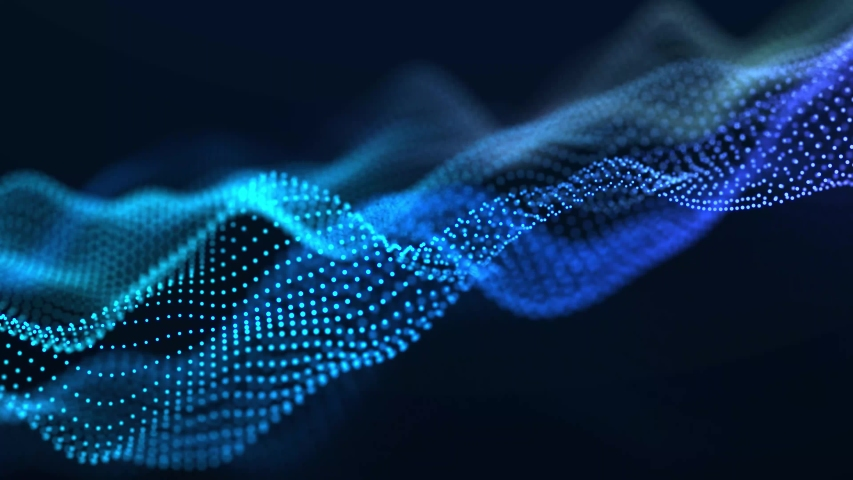 Dynamic wave of glowing particles. Digital technology background. 3d rendering. Seamless loop. | Shutterstock HD Video #1047291751