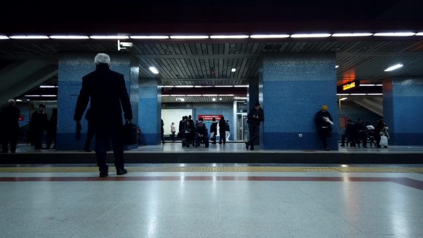 New York City, United States - February 26, 2020: Time-lapse of people waiting and boarding trains at subway station platform in Ankara, Turkey. Turkey city life, or public transportation concept