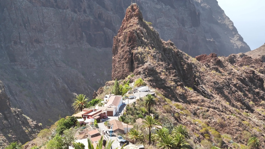Masca mountain village and gorge on Tenerife island, Canary islands, Spain. Ancient Guanche settlement, before Spanish conquest in 1496