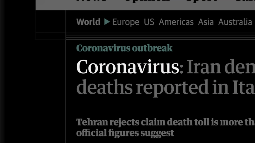 Cluj-Napoca, Romania - February 26, 2020: Zoom in - Coronavirus in the news titles across international media. Coronavirus, COVID-19 concept. Coronavirus, COVID-19 illustrative editorial
