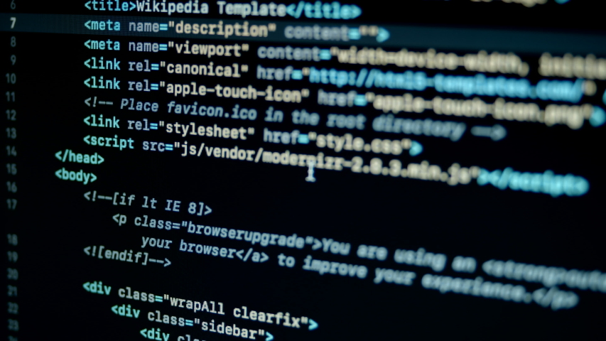 4.5 Scroll and type HTML programming code on laptop screen | Shutterstock HD Video #1047331858