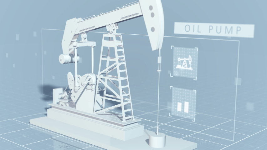 Beautiful 3D closeup view of an oil pump jack animated on a technical abstract background with grid, text and icons. 4K 30fps
