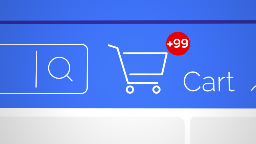Close up shot animation of shopping cart icon on computer screen with animated counting numbers add online commodity on shopping web page. 4k footage 60 fps. | Shutterstock HD Video #1047343492