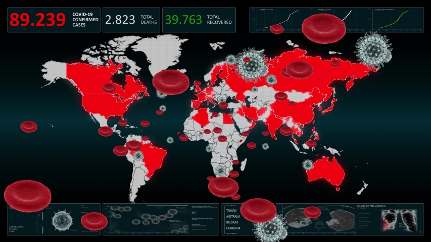 Coronavirus (COVID-19) animated background. 4K. Seamless Loop.   Shutterstock HD Video #1047344725