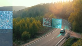 Self Driving car driving on a forest highway with technology assistant tracking information, showing details. Visual effects clip