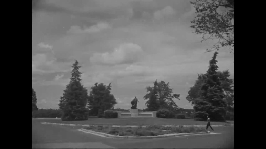 CIRCA 1940s - The Booker T. Washington monument and George Washington Carver Museum are seen at Tuskegee University.