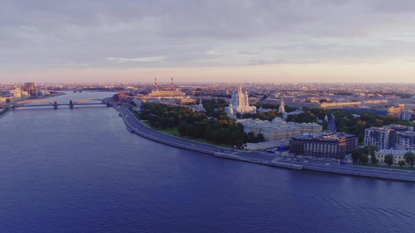 Aerial view Saint Petersburg Sunset  | Shutterstock HD Video #1047365446