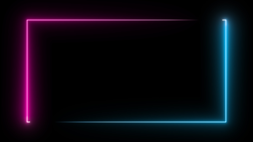 Colored neon animation on a black background. Luminous frame in blue and magenta. 3d rendering video. #1047366049