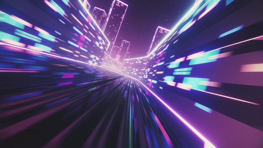 80s retro synthwave style 3d render animation loop