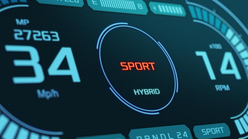 Close-up of a futuristic dashboard of a hybrid car, changing drive mode (3d render) | Shutterstock HD Video #1047374521