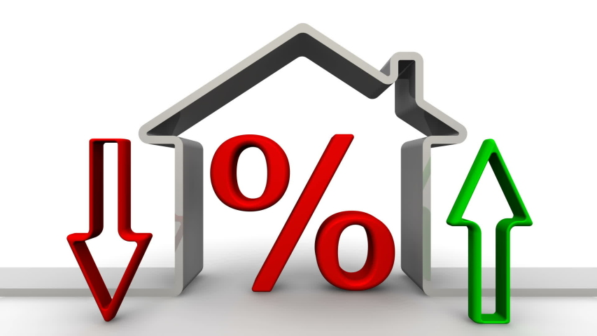 Change in interest on a mortgage. Rotating red percentage symbol inside the symbolic house. The arrow shows the rise and fall of percent. Footage video | Shutterstock HD Video #1047377242