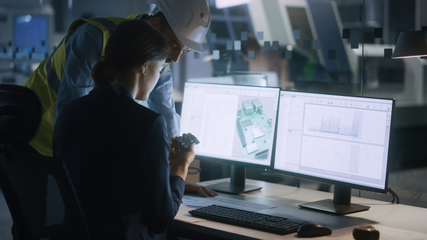 Electronics Design Factory Office: Female Engineer and Male Specialist Talking, Working on Computer, Developing Industrial Microchips, Semiconductor, Telecommunications Equipment Royalty-Free Stock Footage #1047398848