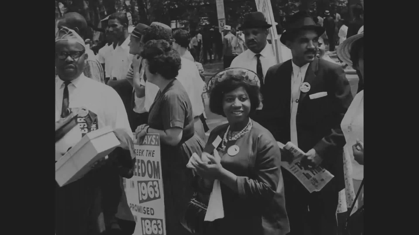 CIRCA 1960s - Civil rights activists are shown marching during the March on Washington for Jobs and Freedom.