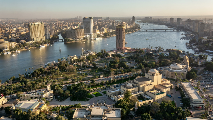 Cairo city skyline. River Nile and Gezira island. Aerial view. | Shutterstock HD Video #1047419332