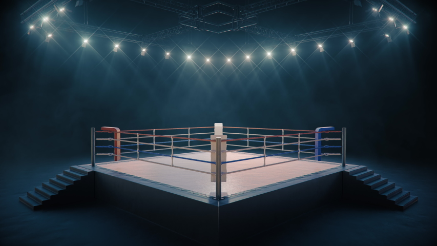 Lightning the empty boxing ring before the fight. Camera bright flashlights are flashing. Sport 4K professional background animation.