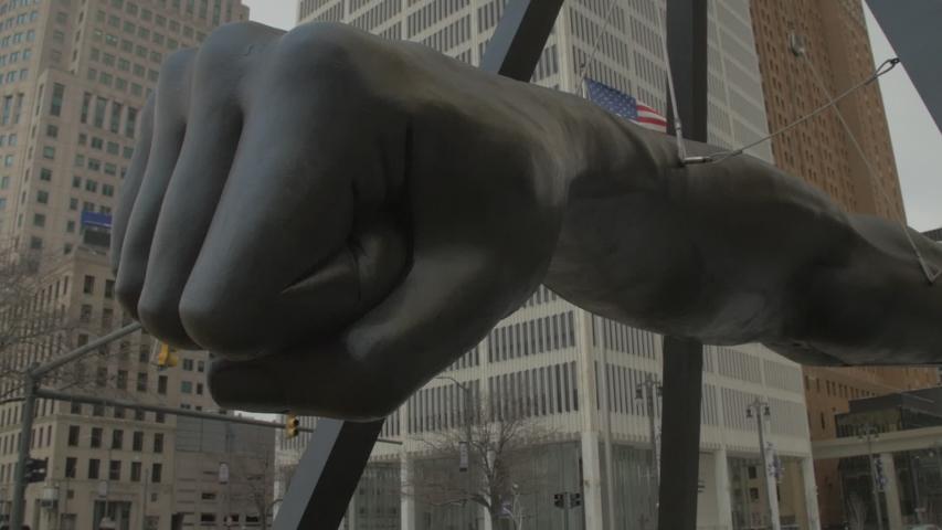 Detroit, MI - Circa 2017: Joe Louis Fist Dolly Shot in Downtown Detroit Michigan