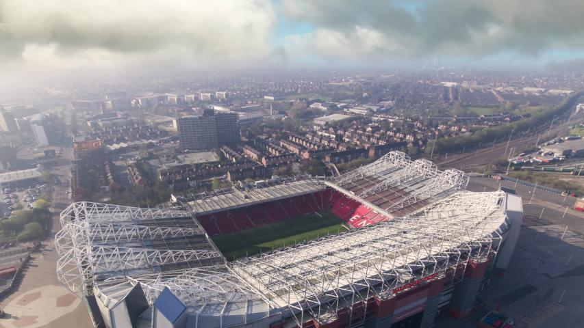 MANCHESTER, UK - 2020: Old Trafford Stadium aerial timelapse, Manchester United football club