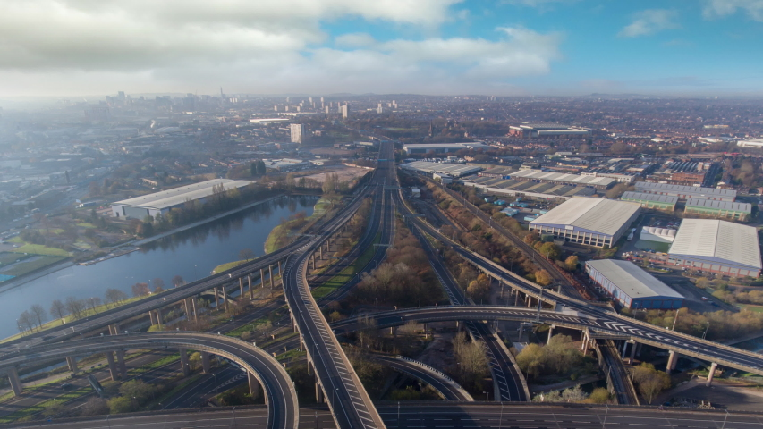Birmingham city centre spaghetti junction quiet Sunday morning timelapse with empty roads Royalty-Free Stock Footage #1047445297