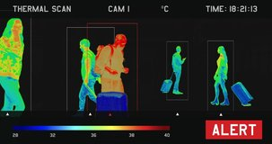 View of a screen showing video from thermal imaging camera, detecting elevated body temperature of people walking in the airport or train station. Coronavirus spread control