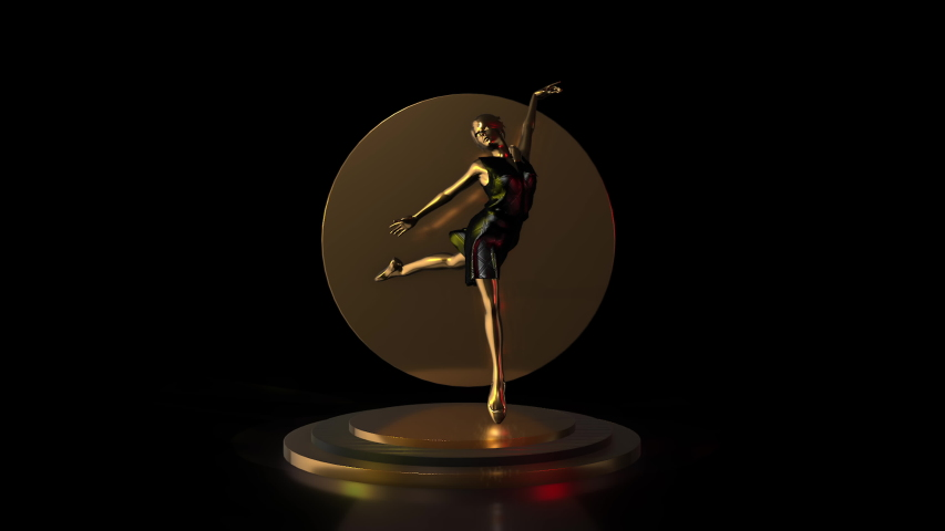 3D Golden ballerina poses on golden pedestal isolated on black background with mirror, 3D Rendering Animation.