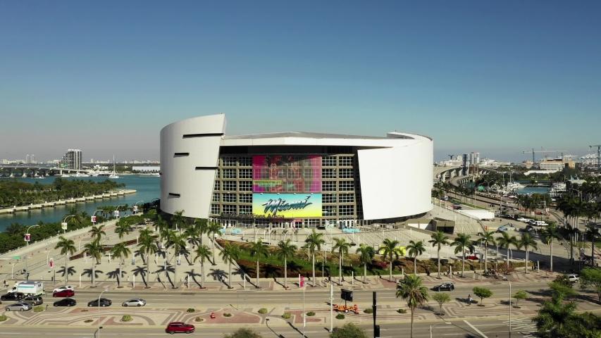 MIAMI, FL, USA - FEBRUARY 28, 2020: Miami American Airlines Arena sports stadium