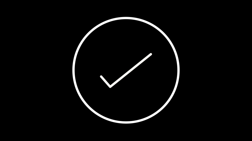 Check circle correct mark success tick yes icon Black and white 4K animation | Shutterstock HD Video #1047463867