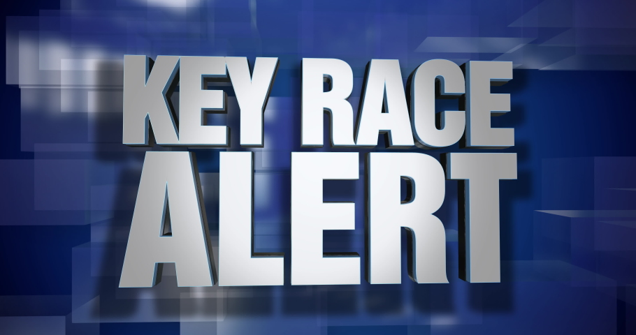 A blue dynamic 3D Key Race Alert news transition and title page animation. 5 and 2 second options included. Green screen.   | Shutterstock HD Video #1047472414
