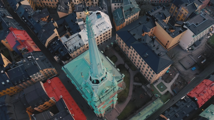 STOCKHOLM, SWEDEN - FEBRUARY, 2020: Aerial view of cathedral in Stockholm old city centre Gamla stan.