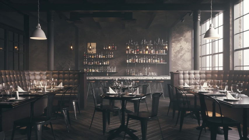Restaurant Bar Interior. Stylish loft style pub. Bar counter in an empty restaurant.  Realistic 3d visualization. Royalty-Free Stock Footage #1047480073