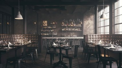 Restaurant Bar Interior. Stylish loft style pub. Bar counter in an empty restaurant.  Realistic 3d visualization.