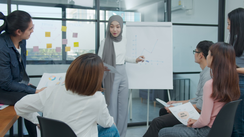 Young asian muslim presenting data results sale marketing on board in office. Asia woman show forcast plan and ideas to business partner or colleagues group enjoy teamwork in small office