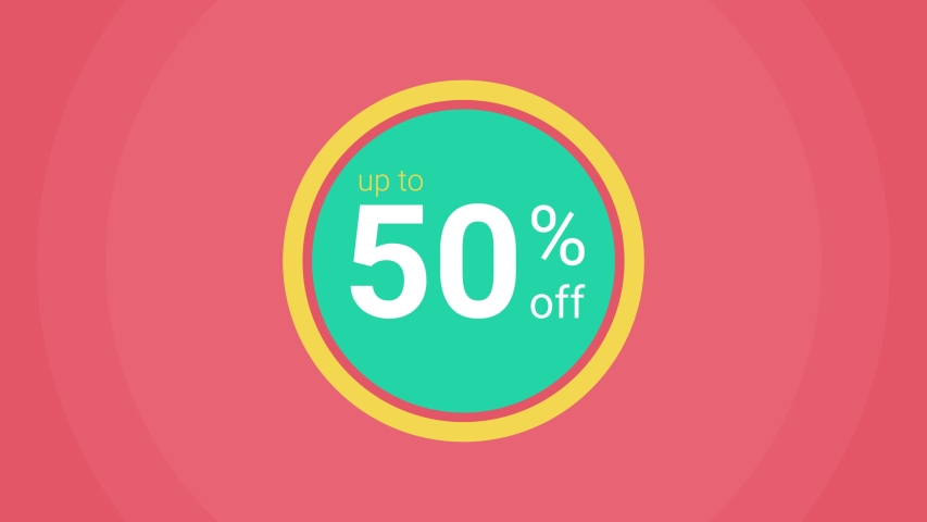 Up to 50% off discount pop up animation with green, coral and yellow circles against a coral background and white abstract motion graphics.  Great for business and shopping sales and promotions. | Shutterstock HD Video #1047531235
