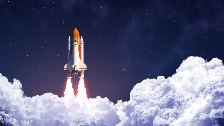 Space Shuttle Launch On Background Of Blue Sky. Slow Motion. 4K. 3840x2160. UHD. 3D Animation. Royalty-Free Stock Footage #1047538510